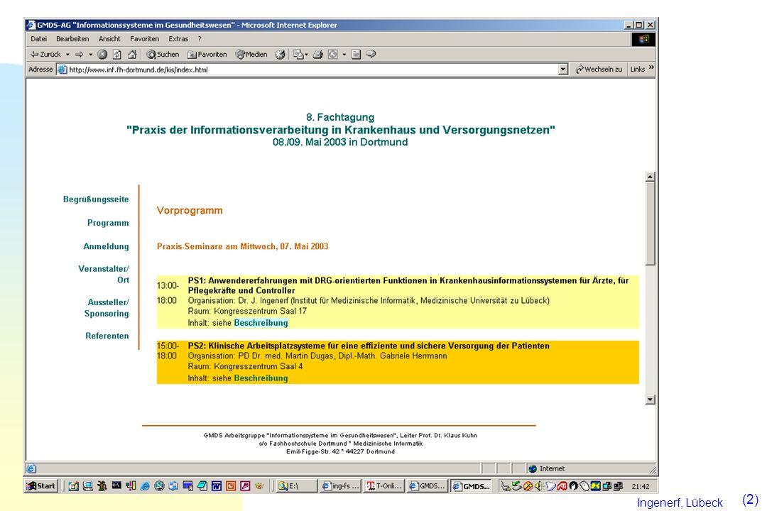 Ingenerf, Lübeck (13) Leistungsmerkmale für Grouper Zeitnahe InEK-Zertifizierung (Referenzen) Softwaretechnische Integration in KIS-Software Integration von Kodiersoftware, Suchfunktionen zur Erfassung von Diagnosen und Prozeduren Anzeige alternativer Gruppierungen (alternative Haupdiagnose, Nicht-Verwendung von Prozeduren) Batch-Gruppierung mit frei konfigurierbaren Eingangsformaten Speichern und Lesen von Falldaten in und aus Dateien Suche in Falldaten Ausdruck von Falldaten und Gruppierungsergebnissen optimale Performance Integration weiterer Funktionen, u.a.