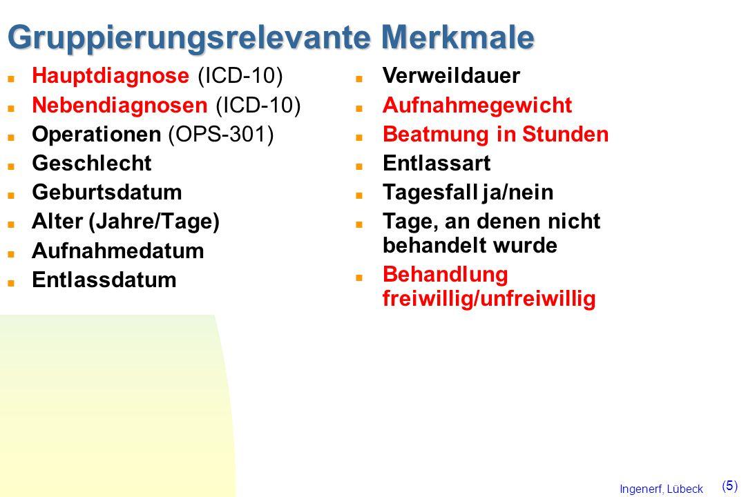 Ingenerf, Lübeck (5) Gruppierungsrelevante Merkmale n Hauptdiagnose (ICD-10) n Nebendiagnosen (ICD-10) n Operationen (OPS-301) n Geschlecht n Geburtsd