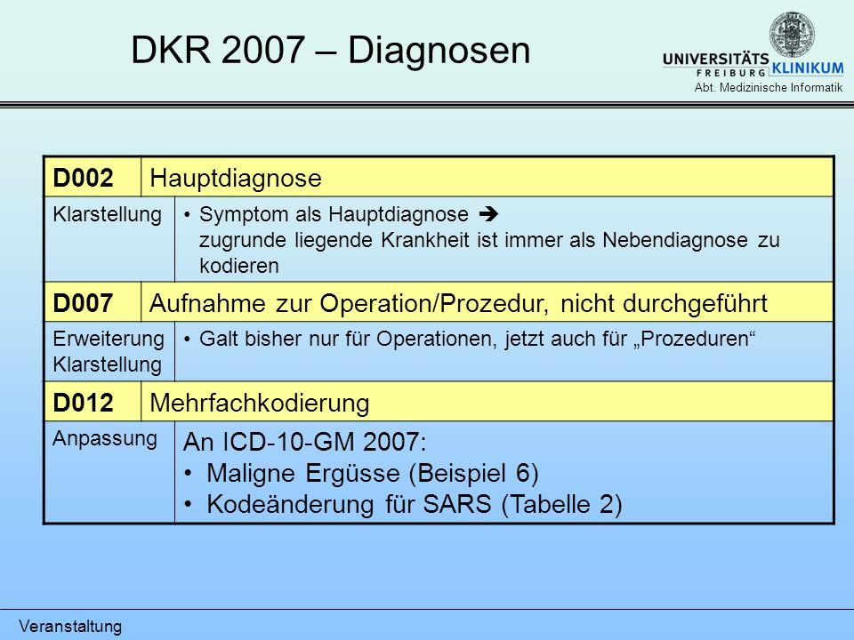 Veranstaltung Abt. Medizinische Informatik DKR 2007 – Diagnosen D002Hauptdiagnose KlarstellungSymptom als Hauptdiagnose zugrunde liegende Krankheit is