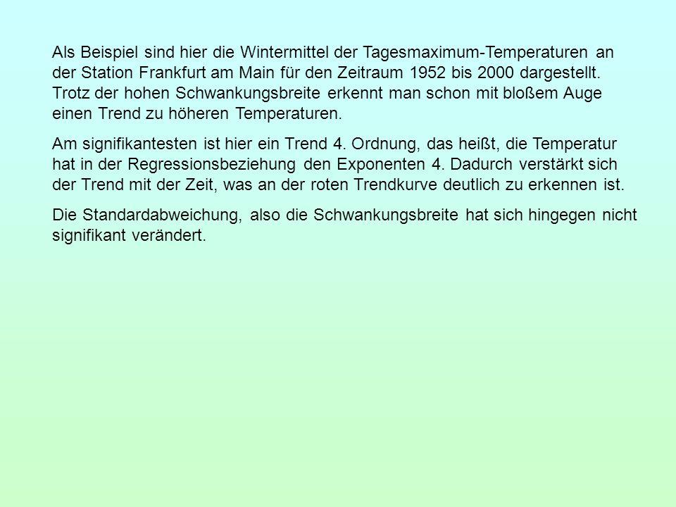 Als Beispiel sind hier die Wintermittel der Tagesmaximum-Temperaturen an der Station Frankfurt am Main für den Zeitraum 1952 bis 2000 dargestellt. Tro