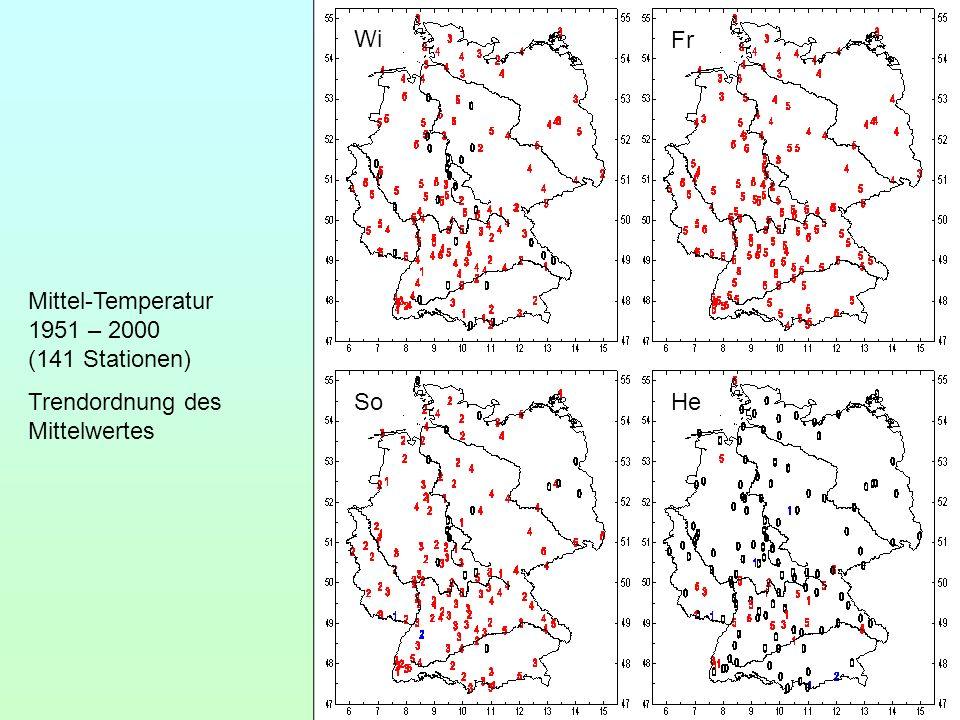 Wi Fr So He Mittel-Temperatur 1951 – 2000 (141 Stationen) Trendordnung des Mittelwertes