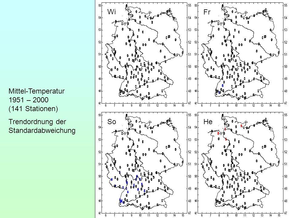 Wi Fr So He Mittel-Temperatur 1951 – 2000 (141 Stationen) Trendordnung der Standardabweichung
