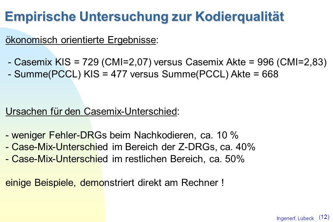 Ingenerf, Lübeck (12) Empirische Untersuchung zur Kodierqualität ökonomisch orientierte Ergebnisse: - Casemix KIS = 729 (CMI=2,07) versus Casemix Akte