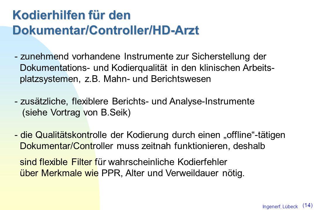 Ingenerf, Lübeck (14) Kodierhilfen für den Dokumentar/Controller/HD-Arzt - zunehmend vorhandene Instrumente zur Sicherstellung der Dokumentations- und