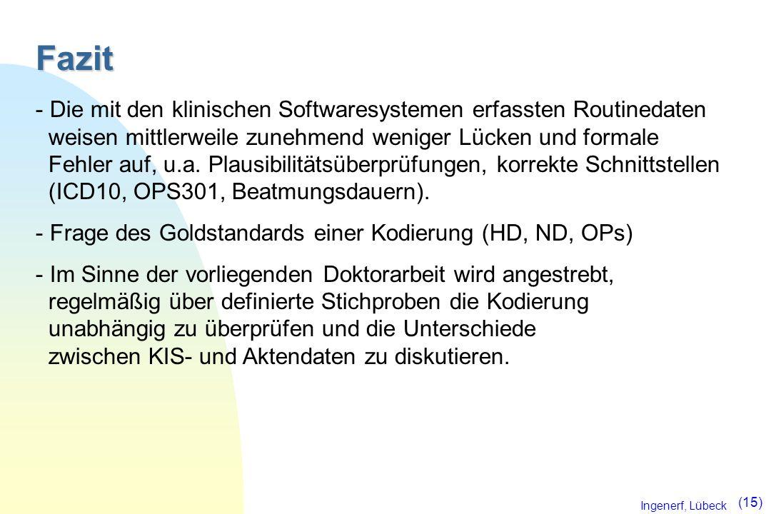 Ingenerf, Lübeck (15) Fazit - Die mit den klinischen Softwaresystemen erfassten Routinedaten weisen mittlerweile zunehmend weniger Lücken und formale