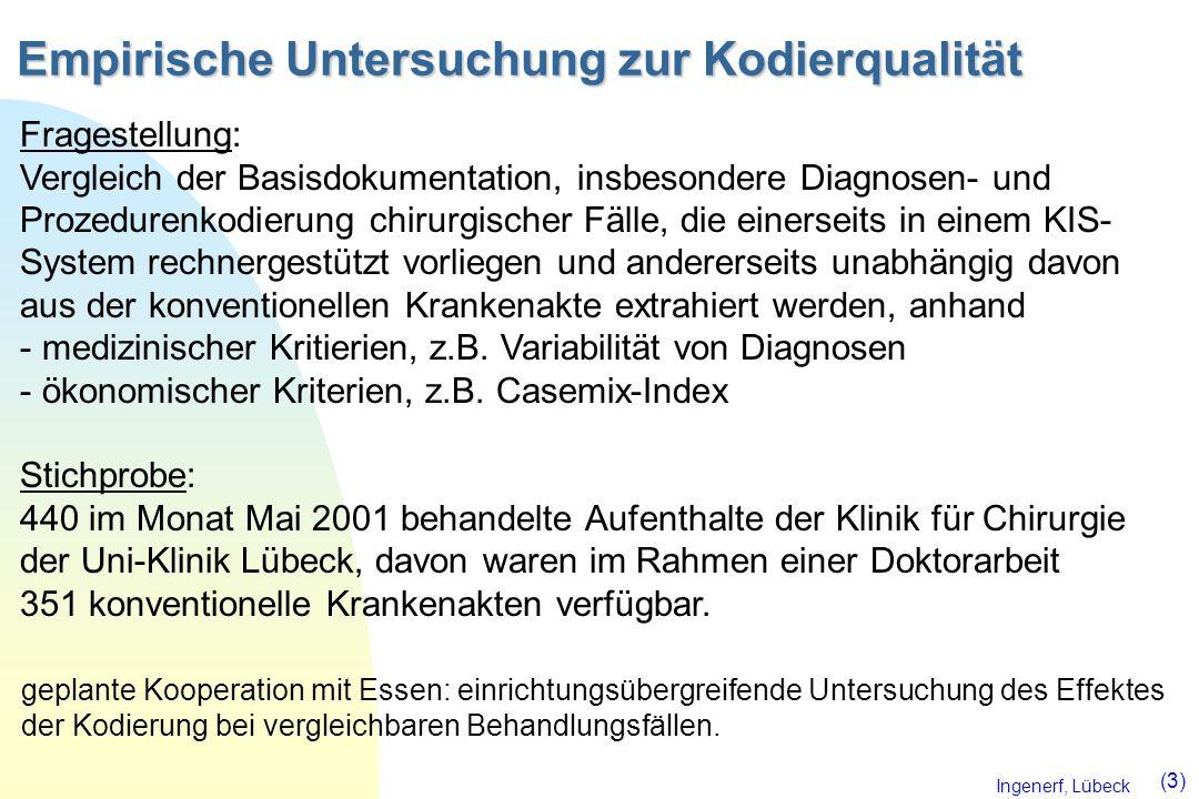 Ingenerf, Lübeck (3) Empirische Untersuchung zur Kodierqualität Fragestellung: Vergleich der Basisdokumentation, insbesondere Diagnosen- und Prozedure