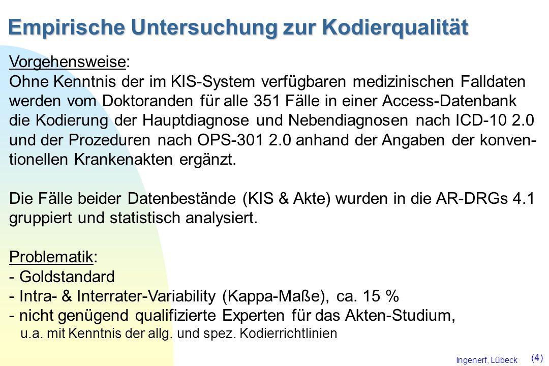 Ingenerf, Lübeck (4) Empirische Untersuchung zur Kodierqualität Vorgehensweise: Ohne Kenntnis der im KIS-System verfügbaren medizinischen Falldaten we