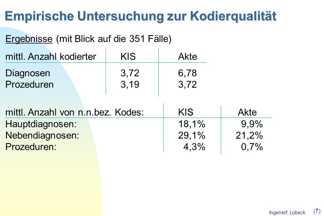 Ingenerf, Lübeck (7) Empirische Untersuchung zur Kodierqualität mittl. Anzahl kodierterKISAkte Diagnosen3,726,78 Prozeduren3,193,72 Ergebnisse (mit Bl