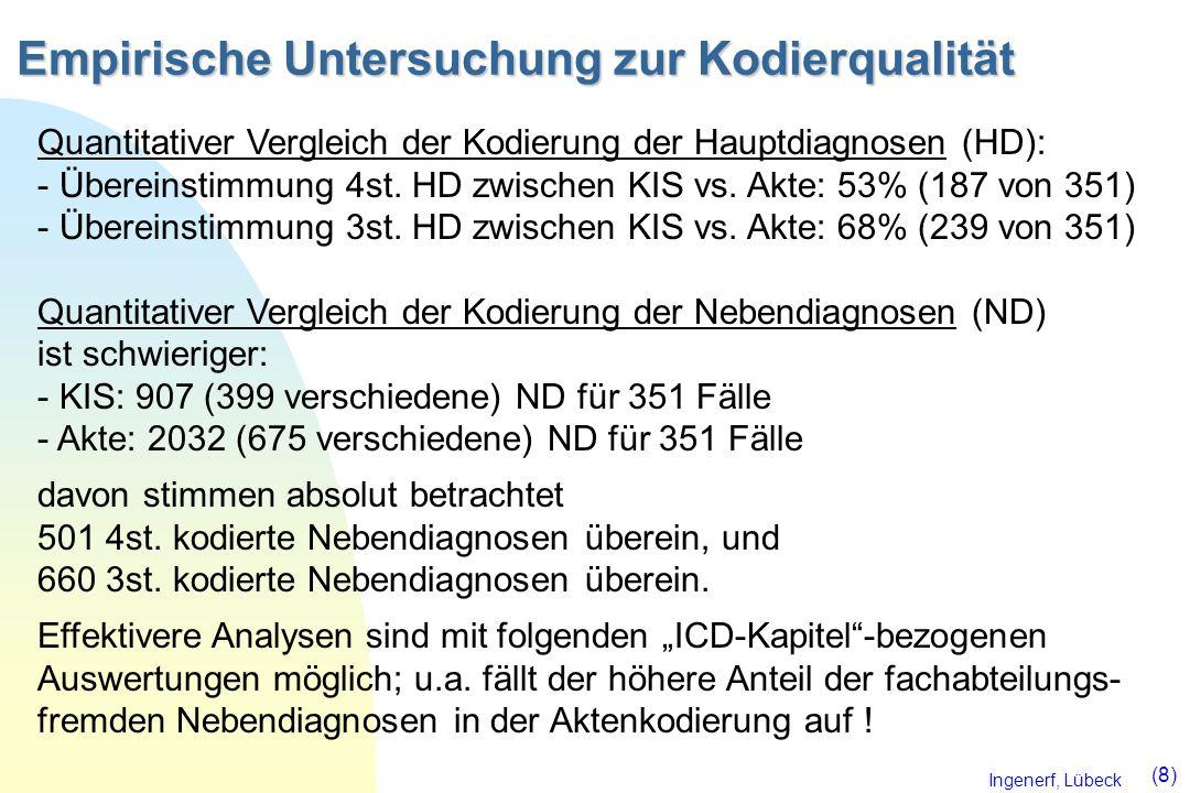Ingenerf, Lübeck (8) Empirische Untersuchung zur Kodierqualität Quantitativer Vergleich der Kodierung der Hauptdiagnosen (HD): - Übereinstimmung 4st.