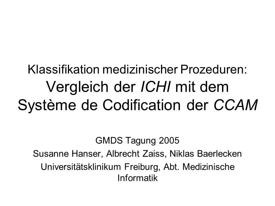 Klassifikation medizinischer Prozeduren: Vergleich der ICHI mit dem Système de Codification der CCAM GMDS Tagung 2005 Susanne Hanser, Albrecht Zaiss,
