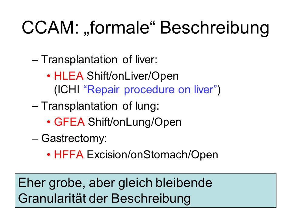 CCAM: formale Beschreibung –Transplantation of liver: HLEA Shift/onLiver/Open (ICHI Repair procedure on liver) –Transplantation of lung: GFEA Shift/on