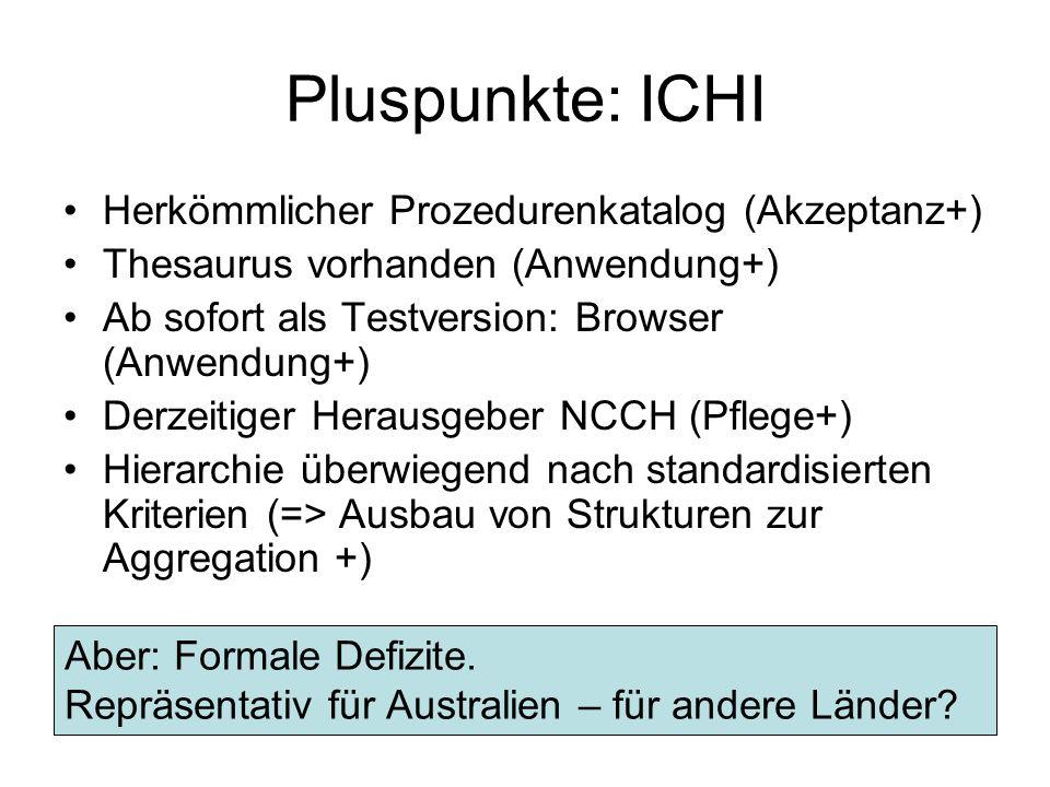 Pluspunkte: ICHI Herkömmlicher Prozedurenkatalog (Akzeptanz+) Thesaurus vorhanden (Anwendung+) Ab sofort als Testversion: Browser (Anwendung+) Derzeit
