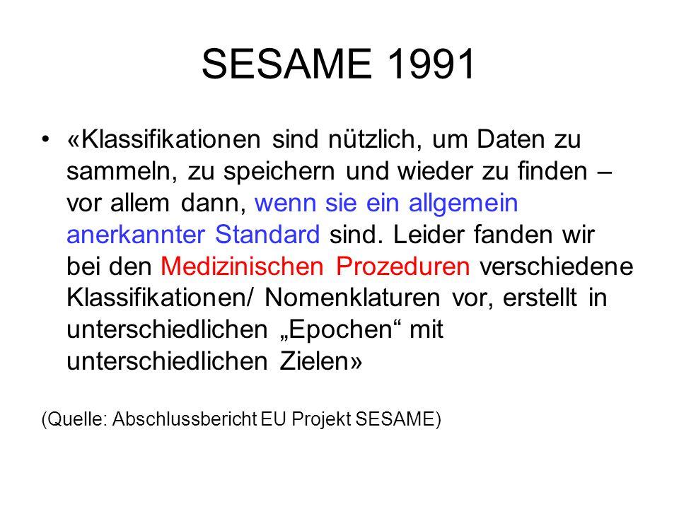 SESAME 1991 «Klassifikationen sind nützlich, um Daten zu sammeln, zu speichern und wieder zu finden – vor allem dann, wenn sie ein allgemein anerkannt