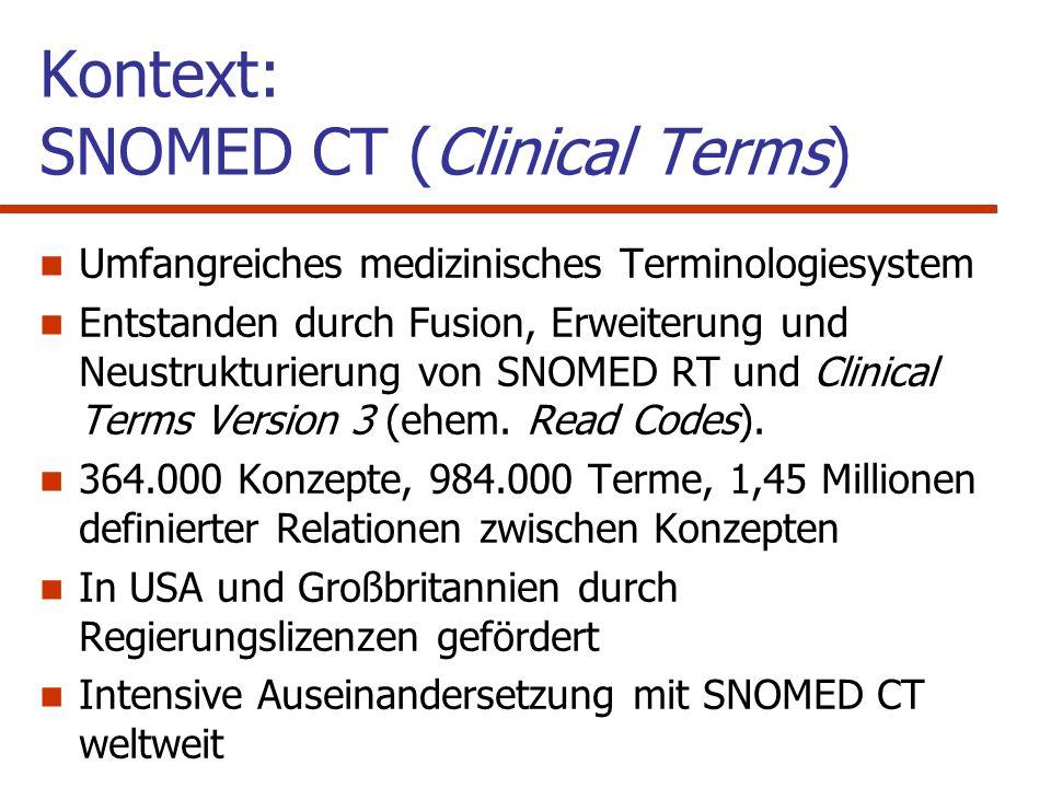 SNOMED CT - Notation in OAV und Beschreibungslogik Object – Attribute – Value (OAV) Triplets Objekte und Werte sind SNOMED - Konzepte Attribute sind SNOMED - Relationen SNOMED Konzept 1SNOMED RelationshipSNOMED Konzept 2 Glomeruläre Erkrankungis_aNierenerkrankung Glomeruläre Erkrankunghas_finding_siteNiere Glomerulumpart_ofNiere Syntax Semantics Baader et al.