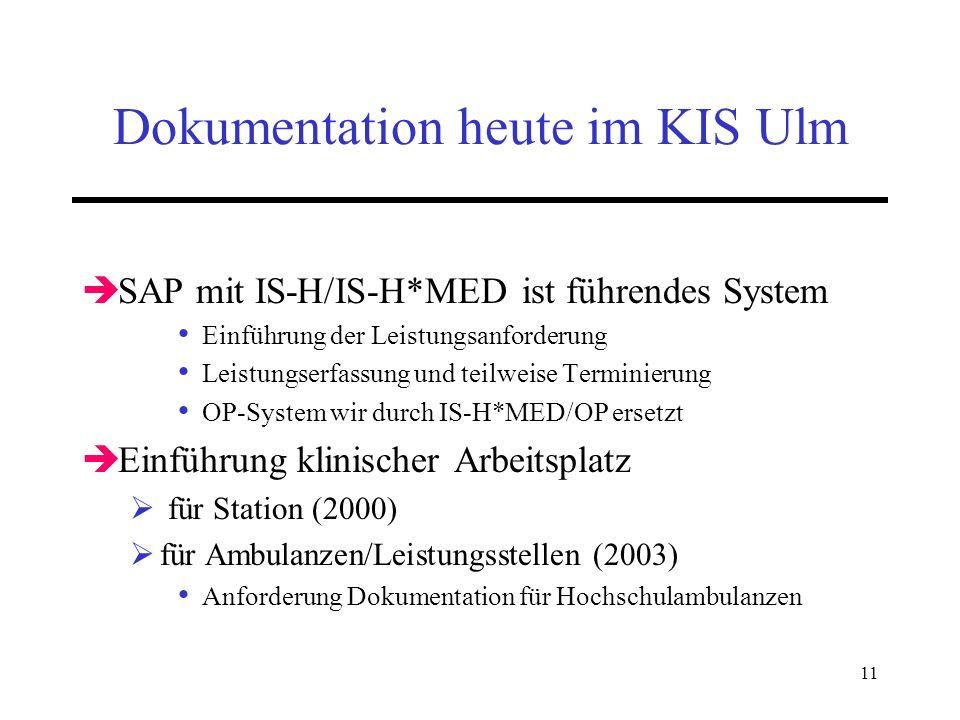 11 Dokumentation heute im KIS Ulm SAP mit IS-H/IS-H*MED ist führendes System Einführung der Leistungsanforderung Leistungserfassung und teilweise Term