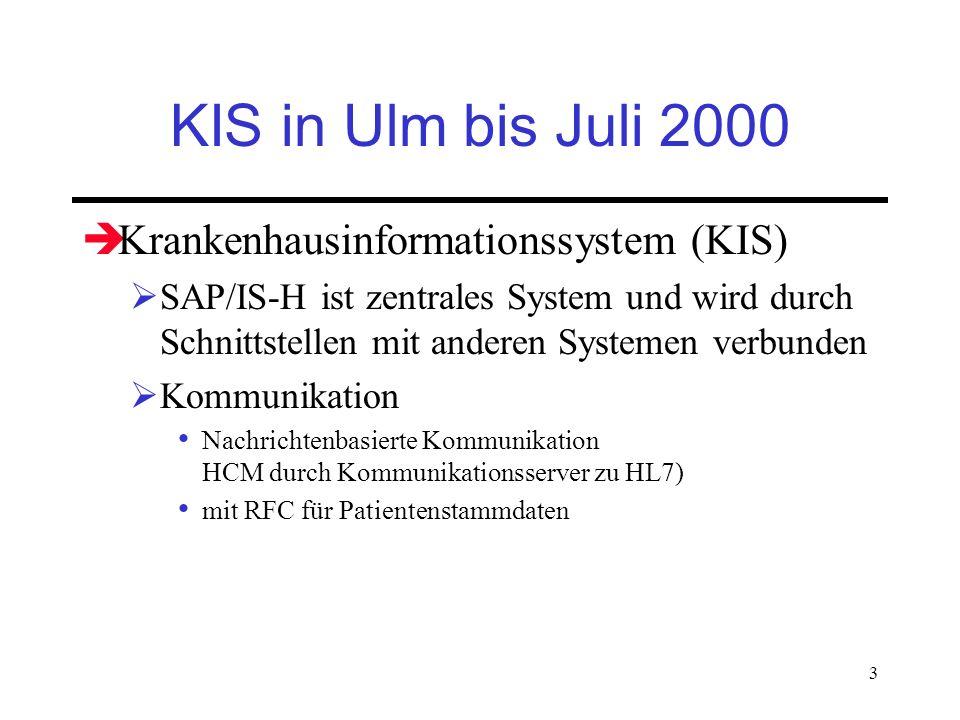 3 KIS in Ulm bis Juli 2000 Krankenhausinformationssystem (KIS) SAP/IS-H ist zentrales System und wird durch Schnittstellen mit anderen Systemen verbun