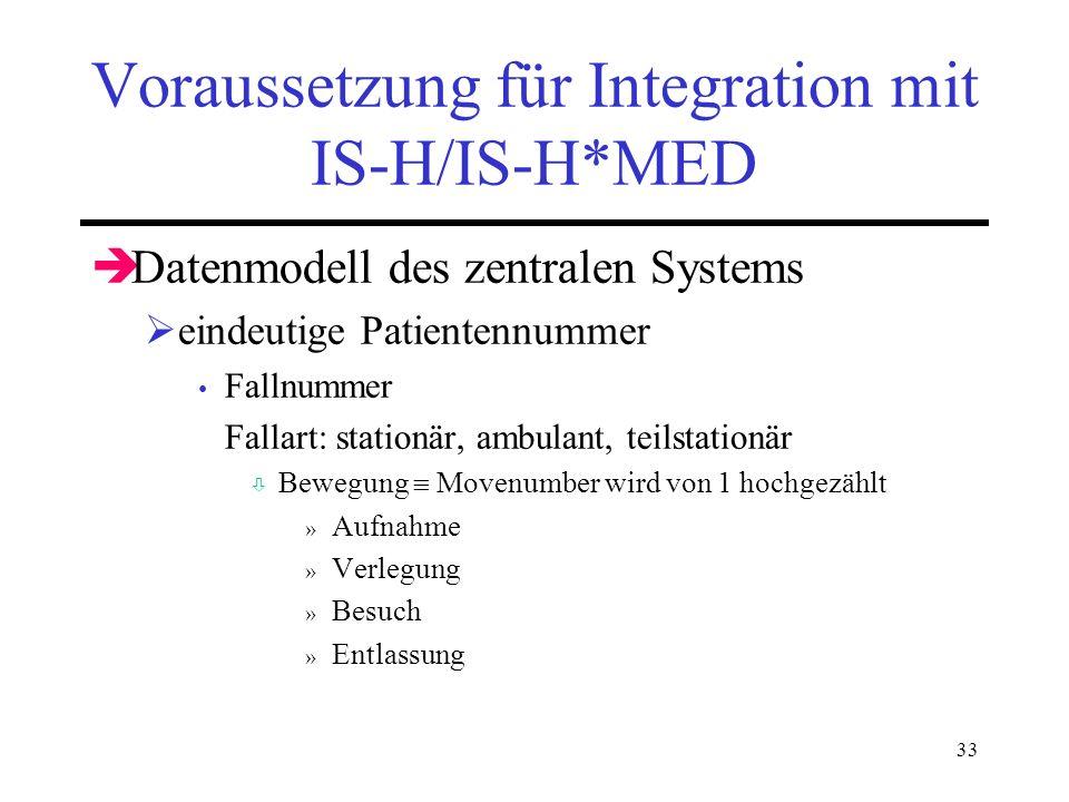 33 Voraussetzung für Integration mit IS-H/IS-H*MED Datenmodell des zentralen Systems eindeutige Patientennummer Fallnummer Fallart: stationär, ambulan