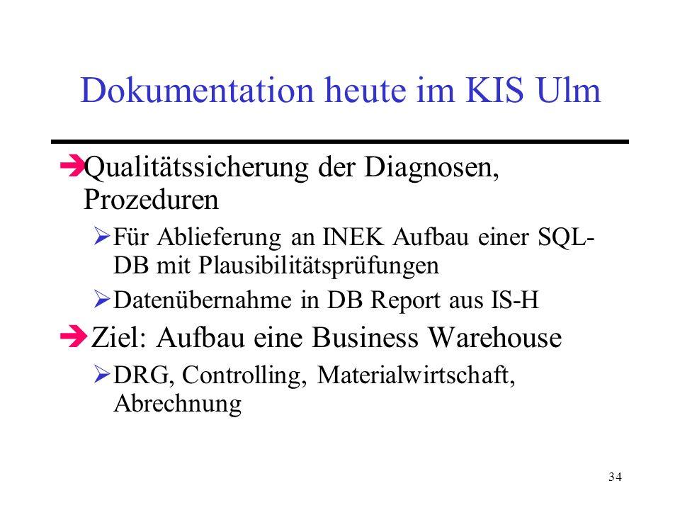 34 Dokumentation heute im KIS Ulm Qualitätssicherung der Diagnosen, Prozeduren Für Ablieferung an INEK Aufbau einer SQL- DB mit Plausibilitätsprüfunge