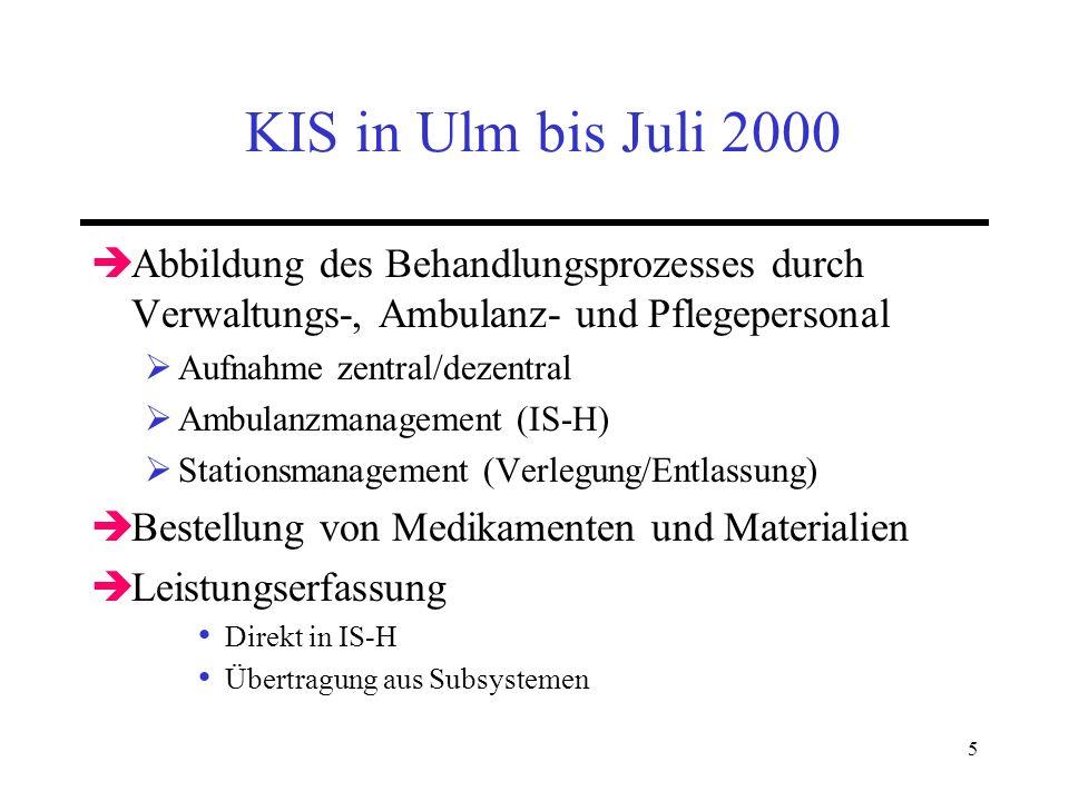 5 KIS in Ulm bis Juli 2000 Abbildung des Behandlungsprozesses durch Verwaltungs-, Ambulanz- und Pflegepersonal Aufnahme zentral/dezentral Ambulanzmana