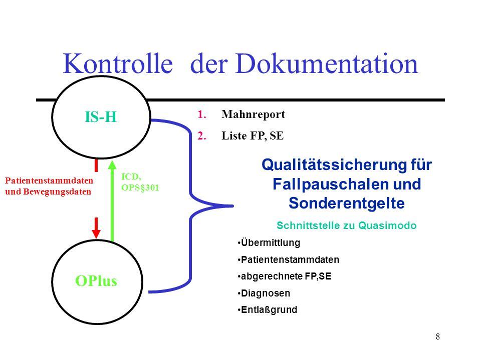 8 Patientenstammdaten und Bewegungsdaten ICD, OPS§301 OPlus Qualitätssicherung für Fallpauschalen und Sonderentgelte Schnittstelle zu Quasimodo Übermi
