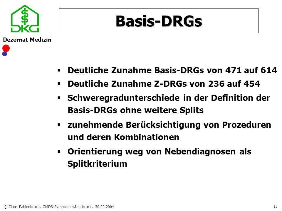 Dezernat Medizin © Claus Fahlenbrach, GMDS-Symposium,Innsbruck, 30.09.2004 11 Basis-DRGs Deutliche Zunahme Basis-DRGs von 471 auf 614 Deutliche Zunahm