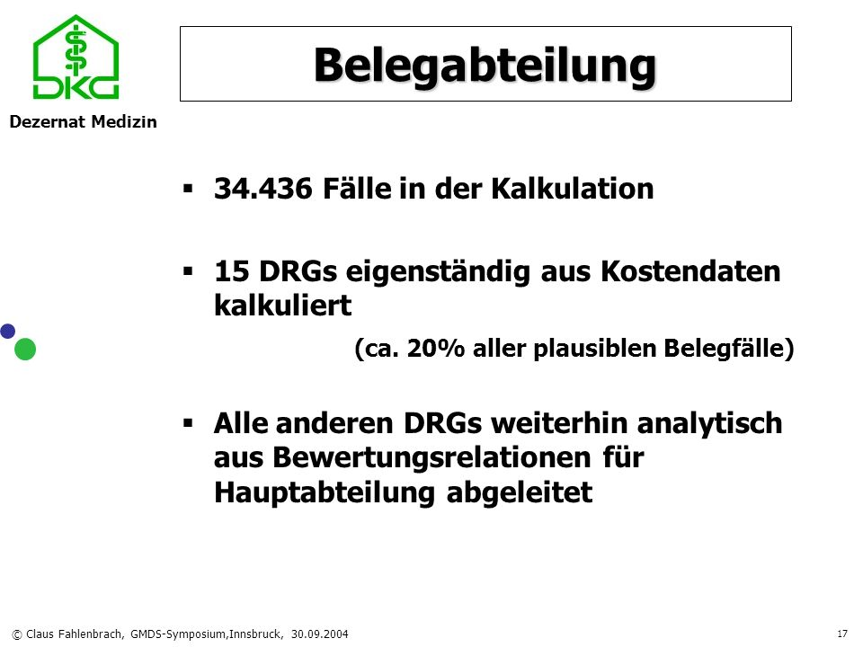 Dezernat Medizin © Claus Fahlenbrach, GMDS-Symposium,Innsbruck, 30.09.2004 17 Belegabteilung 34.436 Fälle in der Kalkulation 15 DRGs eigenständig aus
