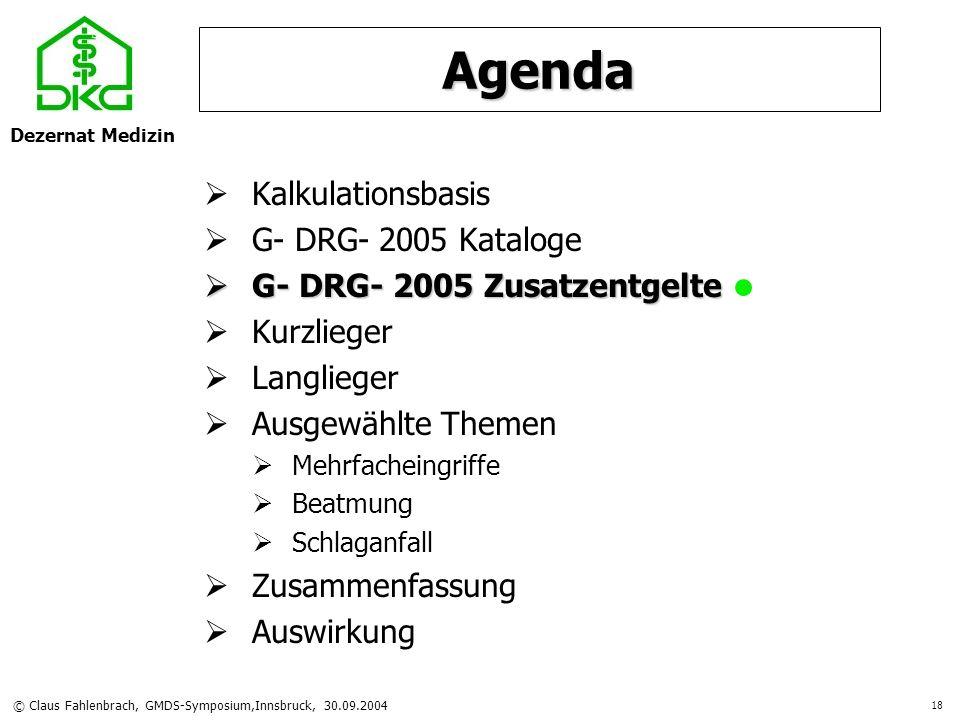 Dezernat Medizin © Claus Fahlenbrach, GMDS-Symposium,Innsbruck, 30.09.2004 18 Agenda Kalkulationsbasis G- DRG- 2005 Kataloge G- DRG- 2005 Zusatzentgel