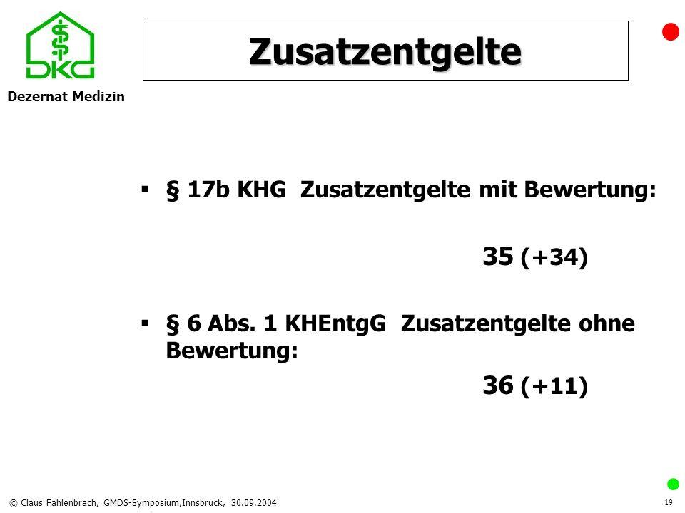 Dezernat Medizin © Claus Fahlenbrach, GMDS-Symposium,Innsbruck, 30.09.2004 19 Zusatzentgelte § 17b KHG Zusatzentgelte mit Bewertung: 35 (+34) § 6 Abs.