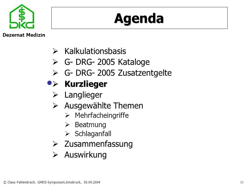 Dezernat Medizin © Claus Fahlenbrach, GMDS-Symposium,Innsbruck, 30.09.2004 21 Agenda Kalkulationsbasis G- DRG- 2005 Kataloge G- DRG- 2005 Zusatzentgel
