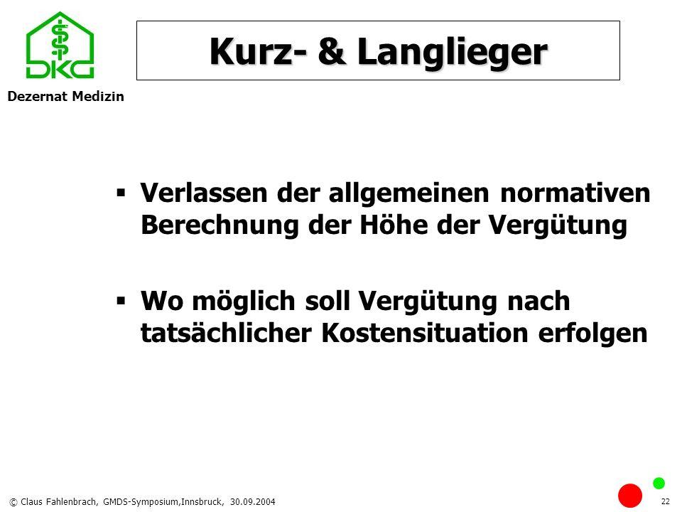 Dezernat Medizin © Claus Fahlenbrach, GMDS-Symposium,Innsbruck, 30.09.2004 22 Kurz- & Langlieger Verlassen der allgemeinen normativen Berechnung der H