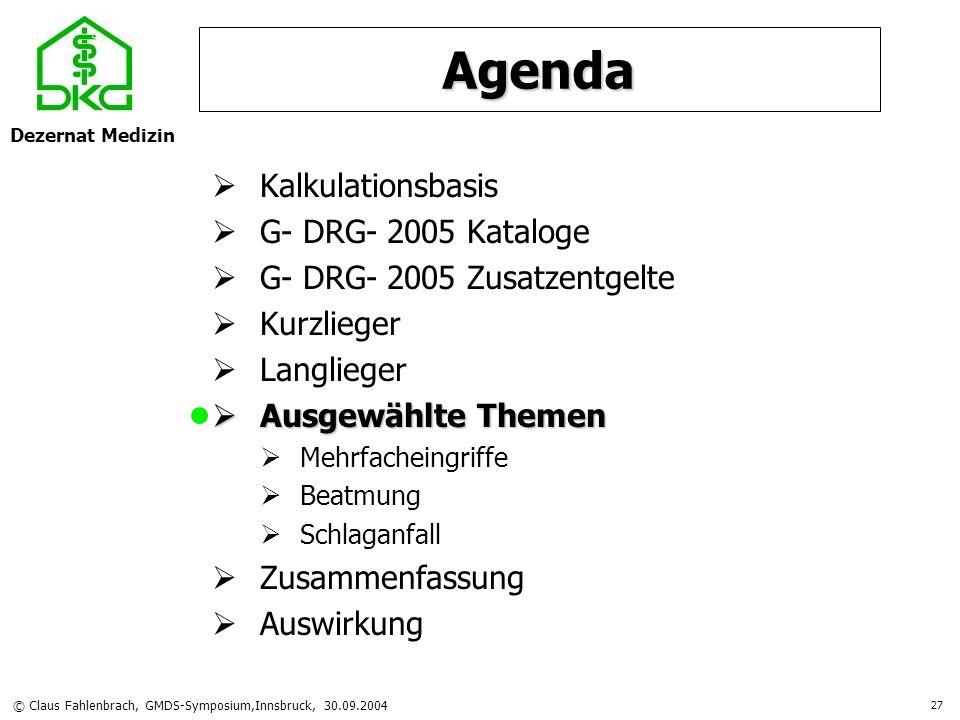 Dezernat Medizin © Claus Fahlenbrach, GMDS-Symposium,Innsbruck, 30.09.2004 27 Agenda Kalkulationsbasis G- DRG- 2005 Kataloge G- DRG- 2005 Zusatzentgel