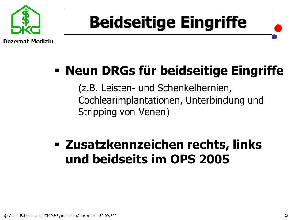 Dezernat Medizin © Claus Fahlenbrach, GMDS-Symposium,Innsbruck, 30.09.2004 28 Beidseitige Eingriffe Neun DRGs für beidseitige Eingriffe (z.B. Leisten-
