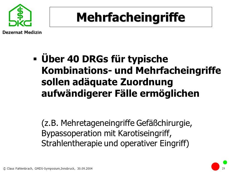 Dezernat Medizin © Claus Fahlenbrach, GMDS-Symposium,Innsbruck, 30.09.2004 29 Mehrfacheingriffe Über 40 DRGs für typische Kombinations- und Mehrfachei