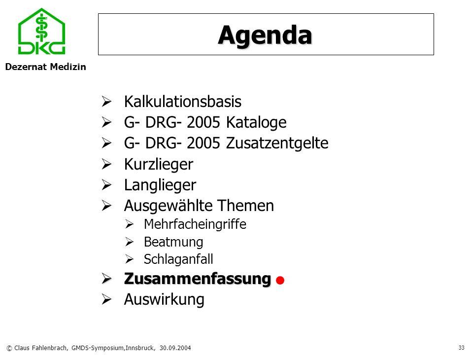 Dezernat Medizin © Claus Fahlenbrach, GMDS-Symposium,Innsbruck, 30.09.2004 33 Agenda Kalkulationsbasis G- DRG- 2005 Kataloge G- DRG- 2005 Zusatzentgel