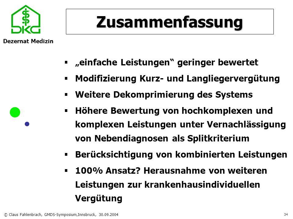 Dezernat Medizin © Claus Fahlenbrach, GMDS-Symposium,Innsbruck, 30.09.2004 34 Zusammenfassung einfache Leistungen geringer bewertet Modifizierung Kurz