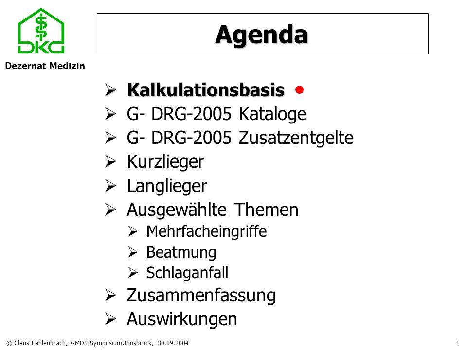 Dezernat Medizin © Claus Fahlenbrach, GMDS-Symposium,Innsbruck, 30.09.2004 25 Agenda Kalkulationsbasis G- DRG- 2005 Kataloge G- DRG- 2005 Zusatzentgelte Kurzlieger Langlieger Langlieger Ausgewählte Themen Mehrfacheingriffe Beatmung Schlaganfall Zusammenfassung Auswirkung