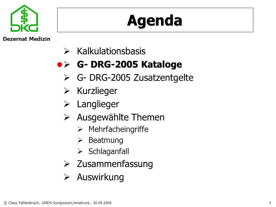Dezernat Medizin © Claus Fahlenbrach, GMDS-Symposium,Innsbruck, 30.09.2004 9 Hauptabteilungen Anzahl DRGs878 (+54) davon im FP-Katalog845 (+39) ohne Bewertung33 (+15) Basis-DRGs614 (+143)