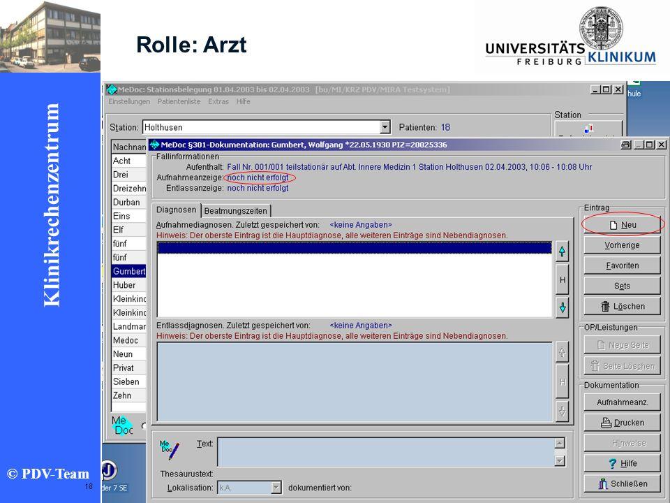 Ziele 2002 Klinikrechenzentrum © PDV-Team 18 Rolle: Arzt