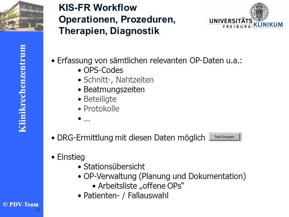 Ziele 2002 Klinikrechenzentrum © PDV-Team 23 KIS-FR Workflow Operationen, Prozeduren, Therapien, Diagnostik Erfassung von sämtlichen relevanten OP-Dat
