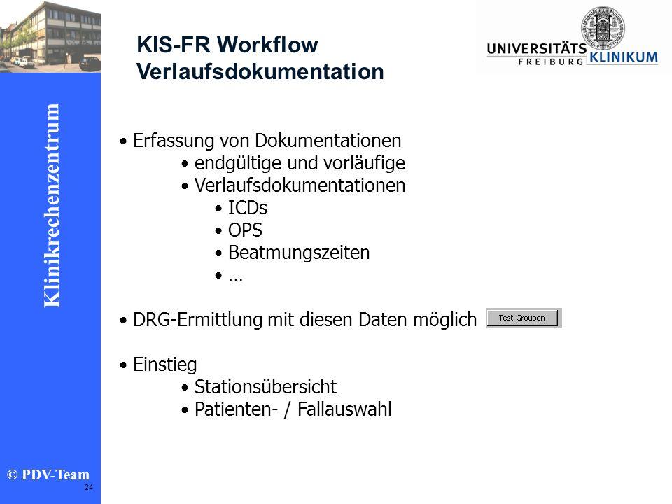 Ziele 2002 Klinikrechenzentrum © PDV-Team 24 KIS-FR Workflow Verlaufsdokumentation Erfassung von Dokumentationen endgültige und vorläufige Verlaufsdok