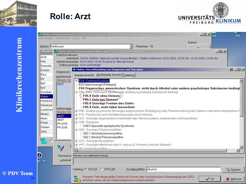Ziele 2002 Klinikrechenzentrum © PDV-Team 26 Rolle: Arzt