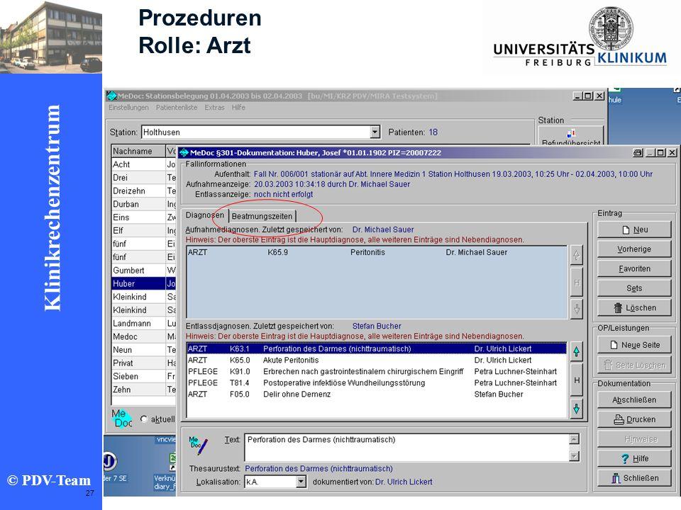 Ziele 2002 Klinikrechenzentrum © PDV-Team 27 Prozeduren Rolle: Arzt