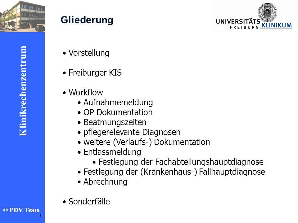 Ziele 2002 Klinikrechenzentrum © PDV-Team 3 Gliederung Vorstellung Freiburger KIS Workflow Aufnahmemeldung OP Dokumentation Beatmungszeiten pflegerele