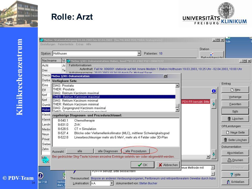 Ziele 2002 Klinikrechenzentrum © PDV-Team 34 Rolle: Arzt