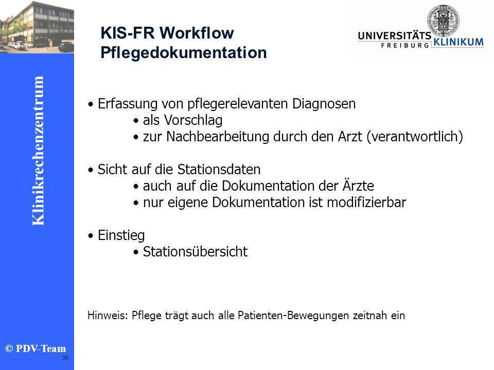 Ziele 2002 Klinikrechenzentrum © PDV-Team 38 KIS-FR Workflow Pflegedokumentation Erfassung von pflegerelevanten Diagnosen als Vorschlag zur Nachbearbe