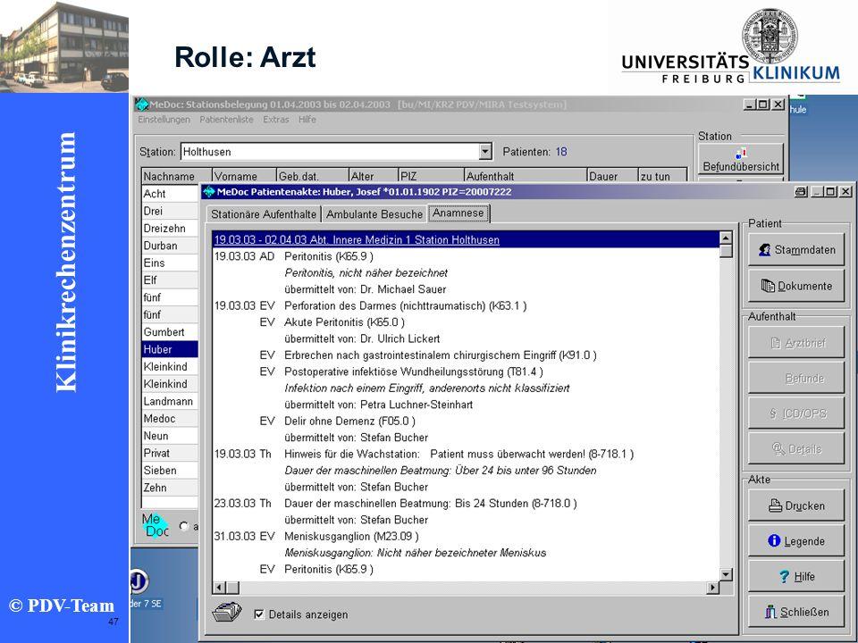 Ziele 2002 Klinikrechenzentrum © PDV-Team 47 Rolle: Arzt