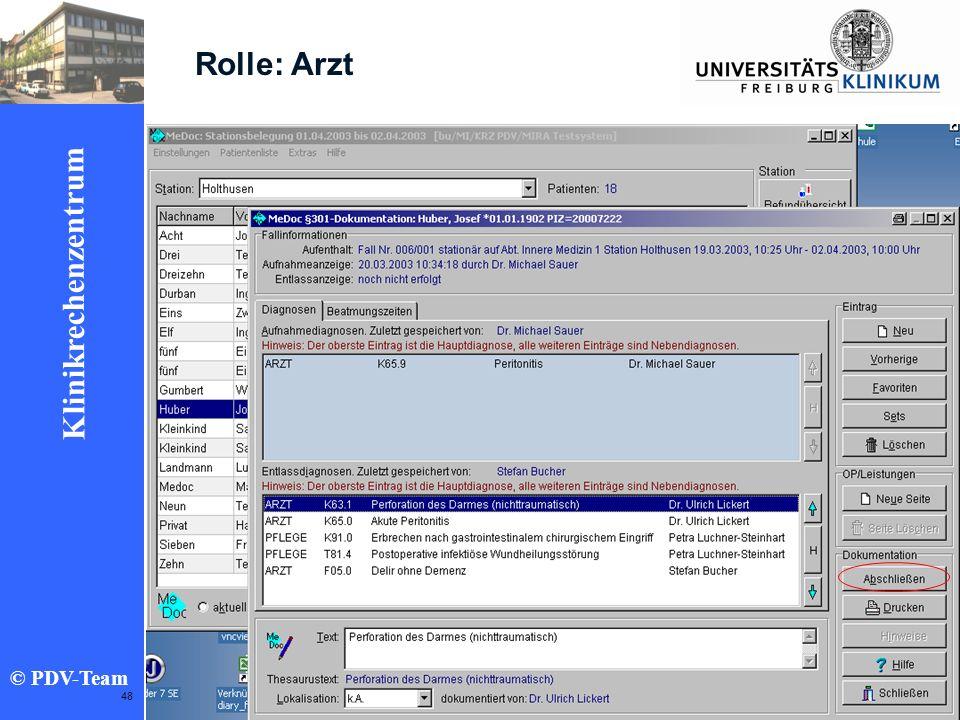 Ziele 2002 Klinikrechenzentrum © PDV-Team 48 Rolle: Arzt