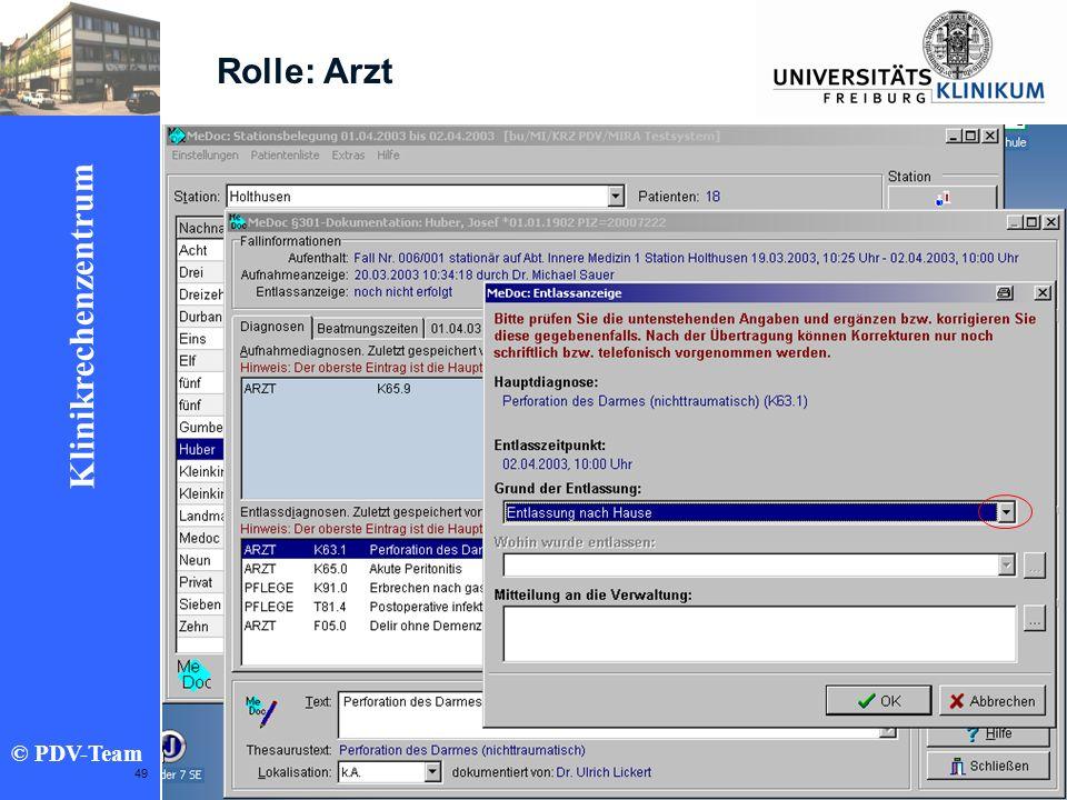 Ziele 2002 Klinikrechenzentrum © PDV-Team 49 Rolle: Arzt
