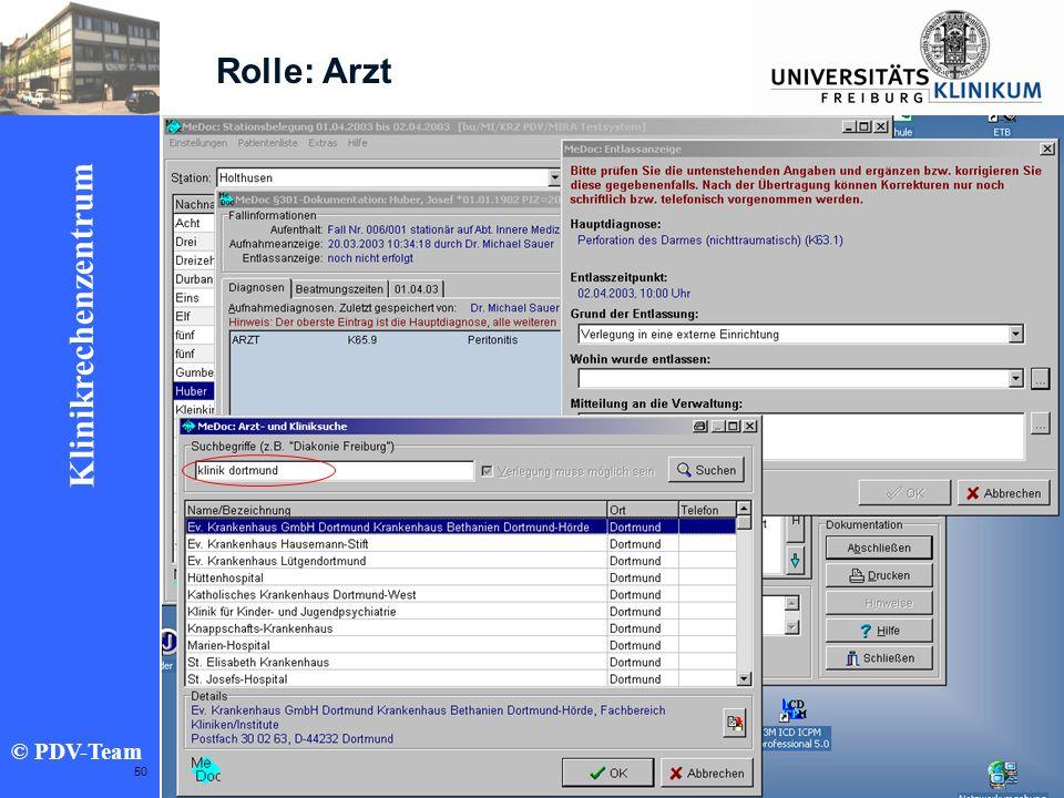 Ziele 2002 Klinikrechenzentrum © PDV-Team 50 Rolle: Arzt
