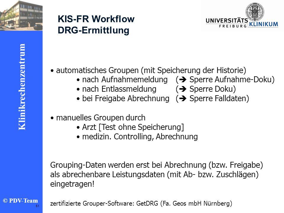 Ziele 2002 Klinikrechenzentrum © PDV-Team 51 KIS-FR Workflow DRG-Ermittlung automatisches Groupen (mit Speicherung der Historie) nach Aufnahmemeldung